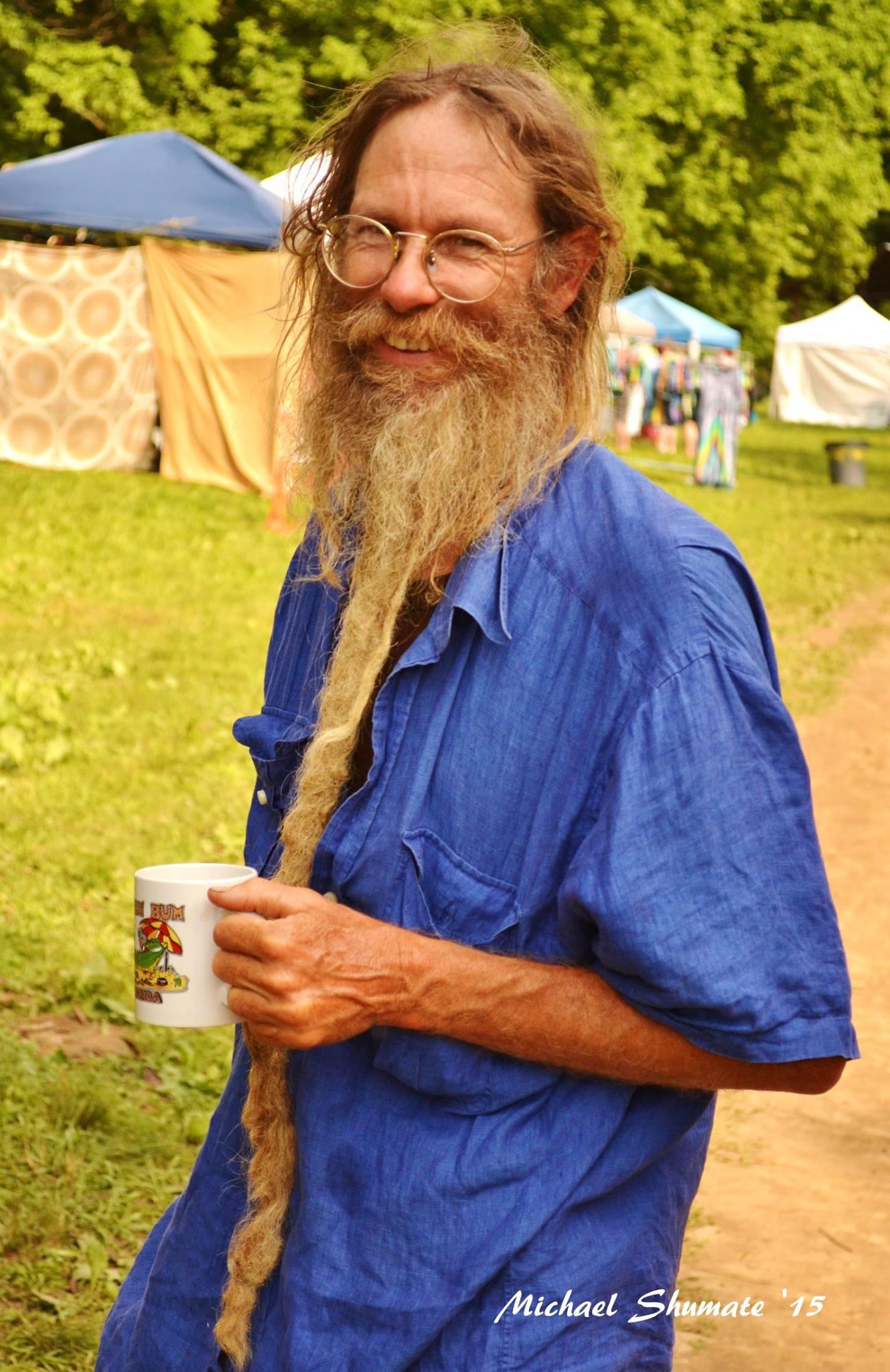 Jeff Poppen, barefoot farmer, blue