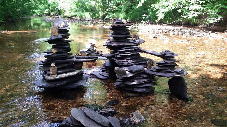 Rock Balancing, rock stacks, creek, water, slate,